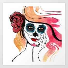 Autumn Sugar Skull Girl Art Print