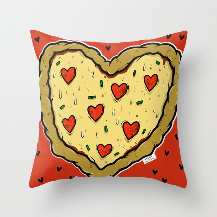 Valentines Day Pizza Pizza Throw Pillow