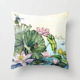 Japanese Water Lilies and Lotus Flowers Throw Pillow