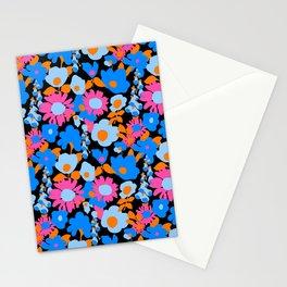 Mod Garden in Black + Orange + Blue Stationery Cards