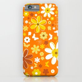 Flowers And Butterflies On Orange Background iPhone Case