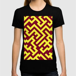 Electric Yellow and Burgundy Red Diagonal Labyrinth T-shirt