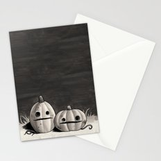 Old Friends - Pumpkins in Black and Grey Stationery Cards