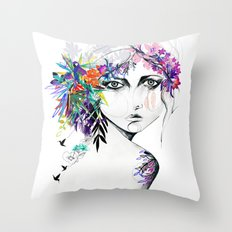 Exotic Girl Throw Pillow
