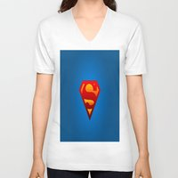 superhero V-neck T-shirts featuring SUPERHERO by Acus