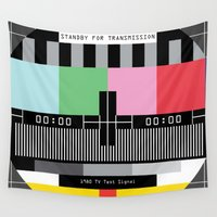 tv Wall Tapestries featuring Tv signal 80's classic Television vintage by Patricia Pino