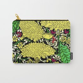 YELLOW & BLACK FLORAL FRIVOLITY FANTASY GARDEN Carry-All Pouch