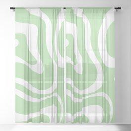 Modern Retro Liquid Swirl Abstract Pattern in Light Matcha Tea Green and White Sheer Curtain