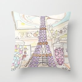 Eiffel Tower of French Macarons and Sweets in Paris  Throw Pillow