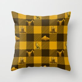 The Fox and The Bear Plaid #1 Yellow Throw Pillow