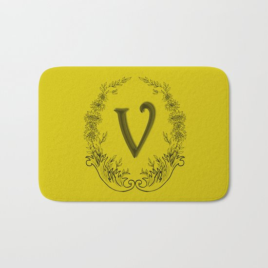 the letter v in a leaves and flowers Bath Mat