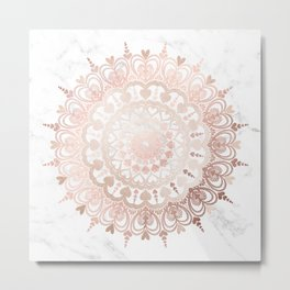 Love Mandala Rose Gold Metal Print