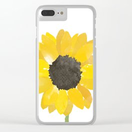 Watercolor Sunflower Clear iPhone Case