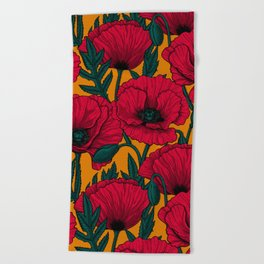 Red poppy garden Beach Towel