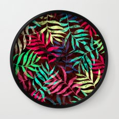 Watercolor Tropical Palm Leaves IV Wall Clock