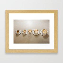 Espresso 5 ways Framed Art Print