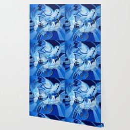 Muge's Pigeons in Blue  Wallpaper