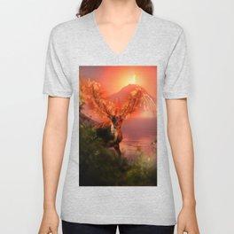 Deer on Fire by GEN Z Unisex V-Neck
