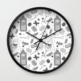 Gin Cocktail Bar Black and White Pattern Wall Clock