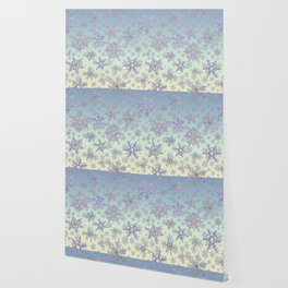 Snowflakes Embroidered on Misty Sky Wallpaper