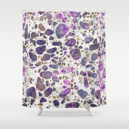Terrazzo - Labradorite and gold on marble #2 Shower Curtain