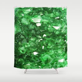 EMERALD GREEN CRYSTALS  MAY BIRTHSTONE Shower Curtain