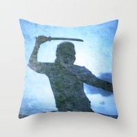 samurai Throw Pillows featuring Samurai by Deprofundis