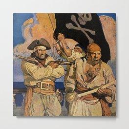 """Pirates"" Treasure Island Cover by NC Wyeth Metal Print"