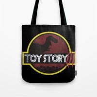 toy story Tote Bags featuring toy story / jurassic park by tshirtsz