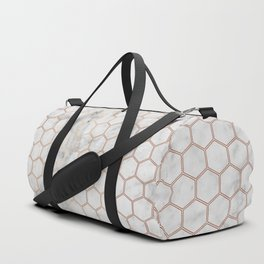 Honeycomb Marble Rose Gold #358 Duffle Bag