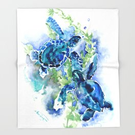 Sea Turtle Turquoise Blue Beach Underwater Scene Green Blue design Throw Blanket