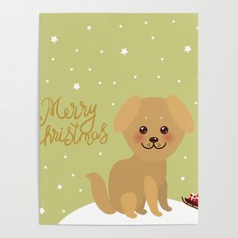 Merry Christmas New Year's card design Kawaii funny golden beige dog Poster