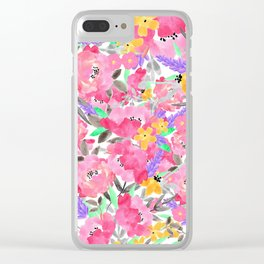 Hand painted pink lavender watercolor floral Clear iPhone Case