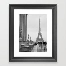 Eiffel Tower on a Snowy Day Framed Art Print