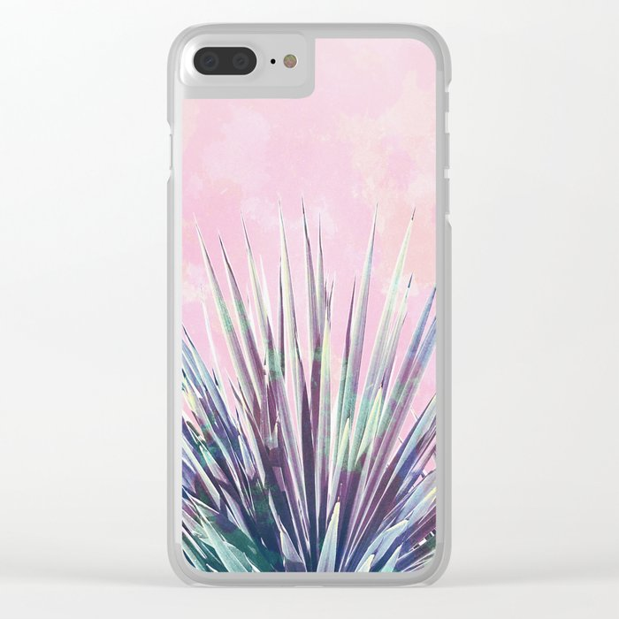 Vintage Yucca Palm - Pink Clear iPhone Case