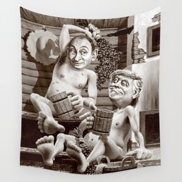 Putin and Trump in the Russian bath Wall Tapestry