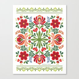 Hungarian Folk Design Red and Pink Canvas Print