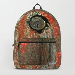 Weathered Wood Texture with Keyhole Backpack