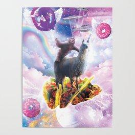 Space Sloth Riding Llama Unicorn - Taco & Donut Poster