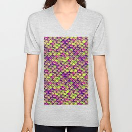 Purple Green Scales Unisex V-Neck