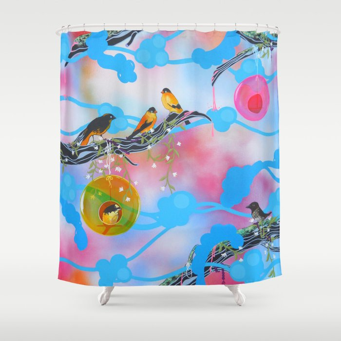 Society Finches Shower Curtain