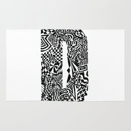 Alphabet Letter D Impact Bold Abstract Pattern (ink drawing) Rug