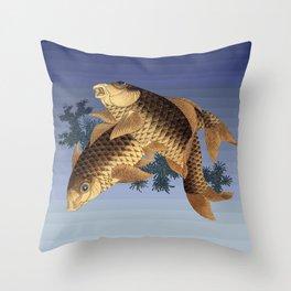 Hokusai – two carps -葛飾 北斎,engraving,carpa, fish. Throw Pillow