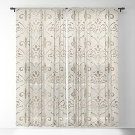 Elegant Fleur-de-lis pattern - pastel gold Sheer Curtain