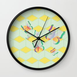 Cut out white paper butterfly green Wall Clock