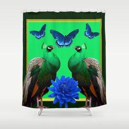BLUE BUTTERFLIES & GREEN PEACOCKS FLORAL Shower Curtain