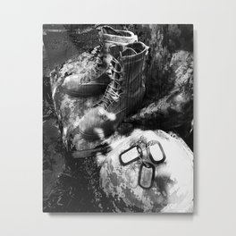 Army art black and white Metal Print