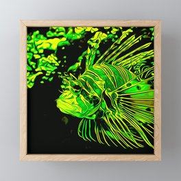 lionfish vector art green Framed Mini Art Print