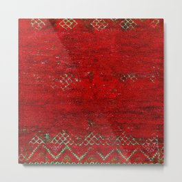 V17 Red Traditional Moroccan Carpet Texture. Metal Print