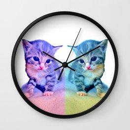Cute Colorful Cat Couple Wall Clock